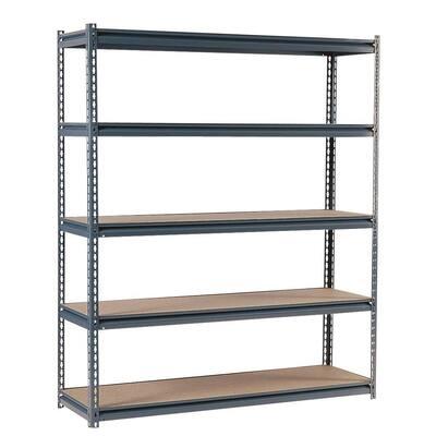 Gray 5-Tier Heavy Duty Steel Garage Storage Shelving (72 in. W x 72 in. H x 36 in. D)