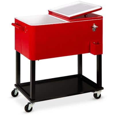 20 gal Wheeled Chest Cooler with Bottle Opener, Drain Plug