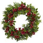 Indoor 24 in. Artificial Berry Boxwood Wreath