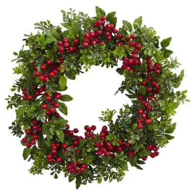 Indoor 24 in. Artificial Berry Boxwood Wreath