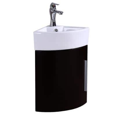 Myrtle 16-1/2 in. Corner Wall Mounted Vanity Combo in Black with Ceramic Sink in White with Faucet Drain and Overflow