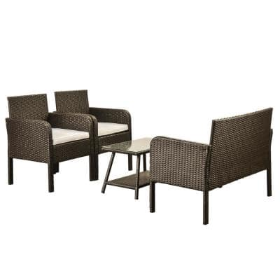 Nnu Brown 4-Piece Rattan Outdoor Sofa Seating Group with Beige Cushions,