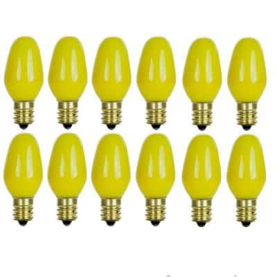 7-Watt C7 Colored Night Light Candelabra Base Incandescent Yellow Light Bulb (12-Pack)