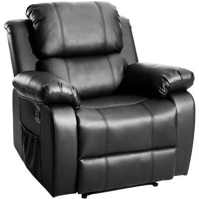 Black PU Heated Massage Recliner Sofa Ergonomic Lounge with 8-Vibration Motors