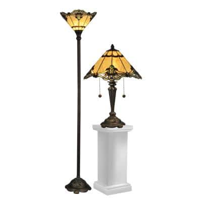 Brena Dark Antique Bronze Metal and Resin Table/Floor Lamp Combo Set with Metal and Resin Base