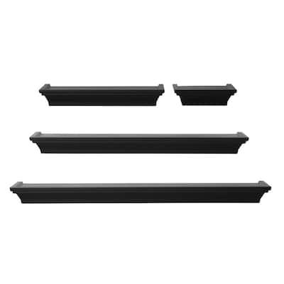 24 in., 20 in., 12 in., 6 in., Wall Shelves in  Black (Set of 4)