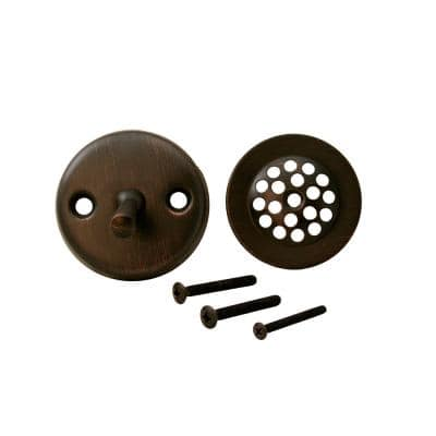 2-Hole Bathtub Waste and Overflow Trip Lever Drain Trim with Strainer in Old World Bronze