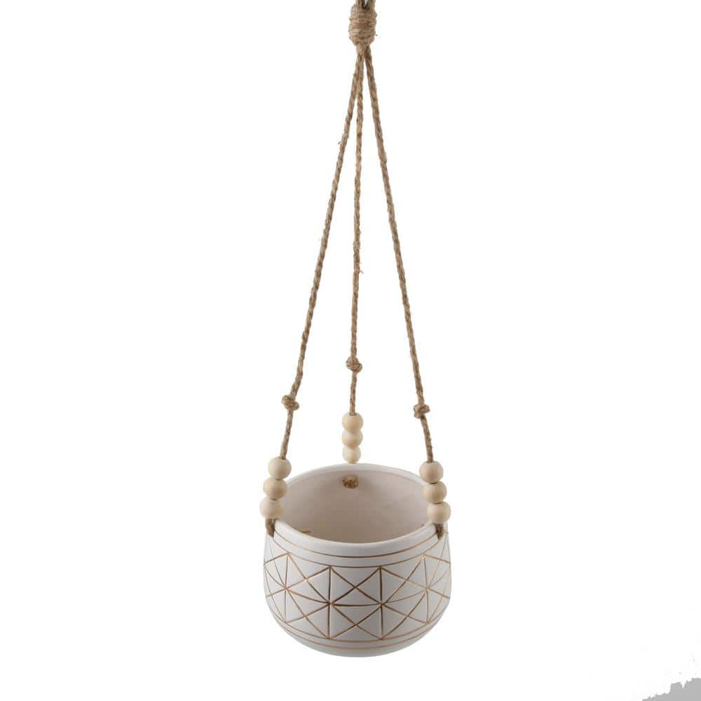 Flora Bunda 6 In White Gold Line Geometric Ceramic Hanging Planter With Beads Ct593e Gd The Home Depot
