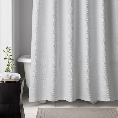 Shoreline Matelasse 72 in. White Cotton Shower Curtain