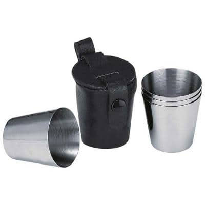Stainless Steel Set of 3-Shot Cups with Leather Carrying Case