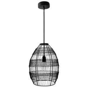 1-Light Black Pendant with Oversized Woven Shade