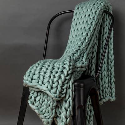 Aqua Acrylic Chunky Knitted Throw