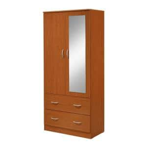 31.5 in. Wide 2-Door Mirror and Clothing Rod in Cherry Armoire with 2-Drawers