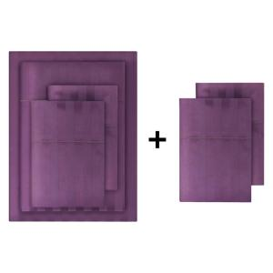 500-Thread Count Egyptian Cotton Sateen 6-Piece California King Sheet Set in Orchid Damask