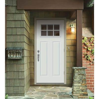 34 in. x 80 in. 6 Lite Craftsman White Painted Steel Prehung Left-Hand Outswing Front Door w/Brickmould