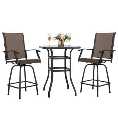 3-Piece Black Steel Frame Outdoor Patio Bar Set with Brown High Swivel Bistro Chairs