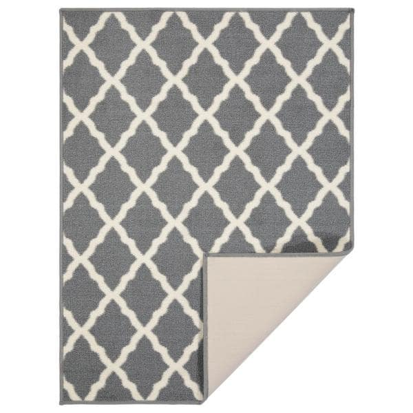 Ottomanson Glamour Collection Gray 2 Ft 3 In X 3 Ft Trellis Design Runner Rug Pnk7023 2x3 The Home Depot