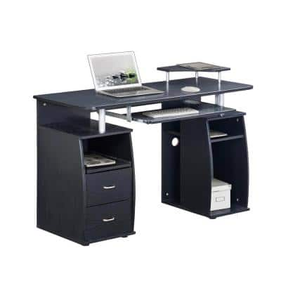 48 in. Rectangular Espresso 2 Drawer Computer Desk with Keyboard Tray
