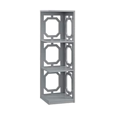 38.5 in. Gray Wood 4-shelf Corner Bookcase with Open Storage
