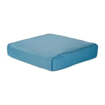 Charlottetown Washed Blue Outdoor Ottoman Replacement Cushion