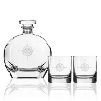 Compass Rose Whiskey Decanter and Rocks Glasses Gift Set (3-Piece)