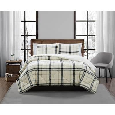 Popcorn Plaid Plush Charcoal/Grey 2-Piece Twin/Twin XL Comforter Set