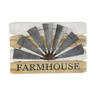 36 in. x 24 in. Gray, White and Brown Farmhouse and Pop Arts Metal and Wood Wall decor