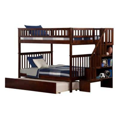 Woodland Staircase Bunk Bed Full over Full with Full Size Urban Trundle Bed in Walnut