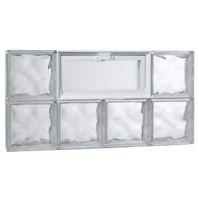 31 in. x 15.75 in. x 3.125 in. Wave Pattern Glass Block Masonry Window with Vent