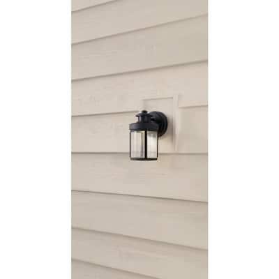 Black Motion Sensor Outdoor Integrated LED Wall Lantern Sconce
