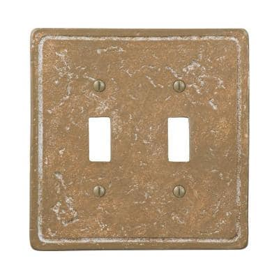 Faux Stone 2 Gang Toggle Resin Wall Plate - Noche