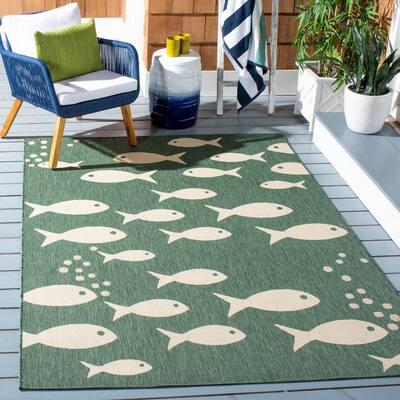 Courtyard Dark Green/Ivory 7 ft. x 10 ft. Novelty Fish Indoor/Outdoor Area Rug