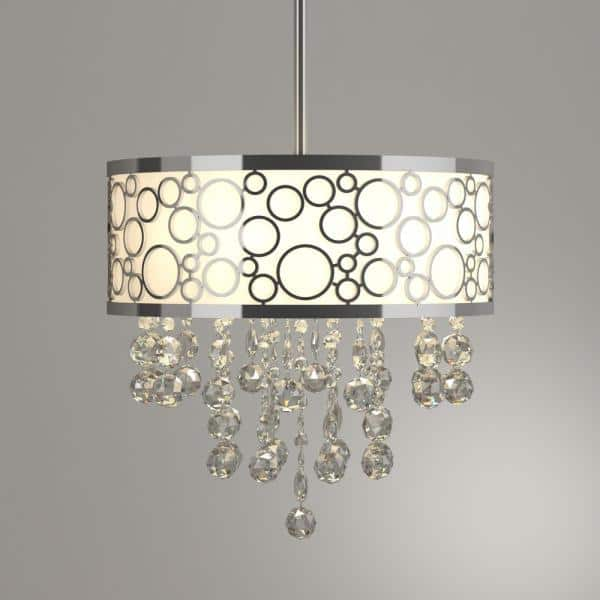 Warehouse Of Tiffany Adelaida 3 Light Chrome Crystal Chandelier With Fabric Shade Rl7892 The Home Depot