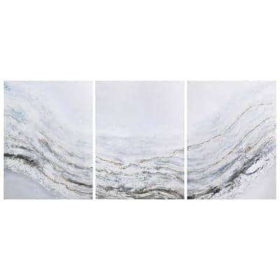 """""""Blizzard"""" by Martin Edwards Triptych Set Textured Metallic Abstract Hand Painted Wall Art 40 in. x 90 in."""