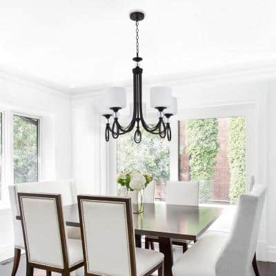 25.4 in. x 25.2 in. 5-Light Contemporary Chandelier Pendant with Frost White Glass Shades