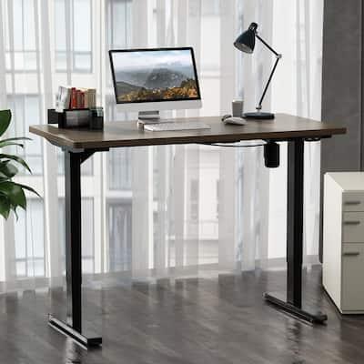 47 in. Wulnut Electric Height Adjustable Standing Desk Workstation Solid Table Ergonomic Memory Controller Computer Desk