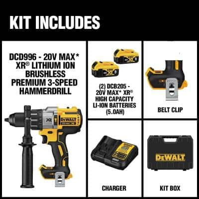 20-Volt MAX XR Cordless Brushless 3-Speed 1/2 in. Hammer Drill with (2) 20-Volt 5.0Ah Batteries & Charger