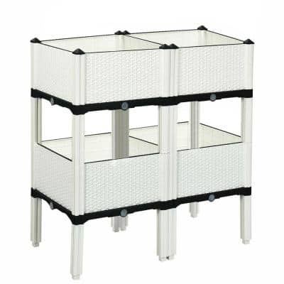 16 in. x 16 in. Elevated White Plastic Planter Box (4-Pack)
