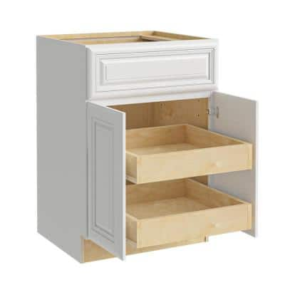 Brookfield Assembled 30x34.5x24 in. Plywood Mitered Kitchen Cabinet 2 rollouts Soft Close in Painted Pacific White