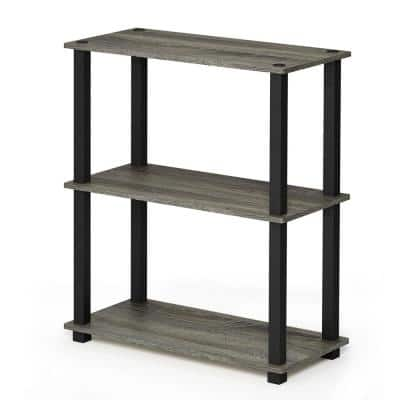 29.5 in. French Oak Gray/Black 3-shelf Etagere Bookcase with Open Back