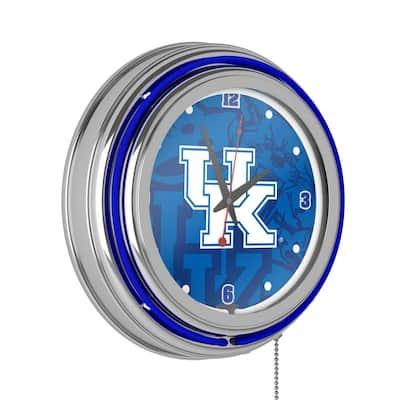 University of Kentucky 14 in. x 14 in. Fade Round Neon Wall Clock