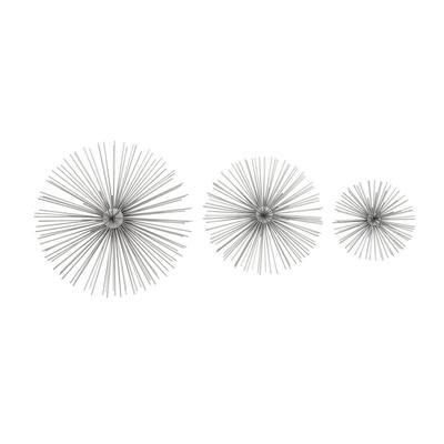 Tin Metallic Silver Starburst Metal Works (Set of 3)