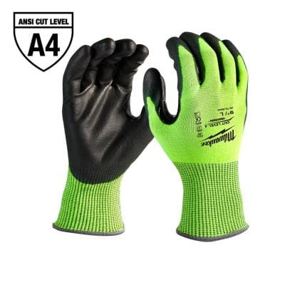 Small High Visibility Level 4 Cut Resistant Polyurethane Dipped Work Gloves
