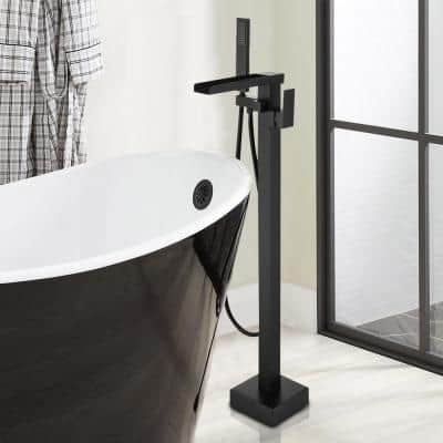 Single-Handle Free Standing Floor Mount Waterfall Tub Filler Bathroom Tub Faucets with Handheld Shower in Matte Black