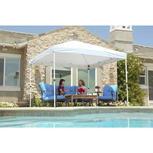 Everbilt 10 Ft X 10 Ft White Commercial Instant Canopy Pop Up Tent With Wall Panel Ns Hpp100 The Home Depot