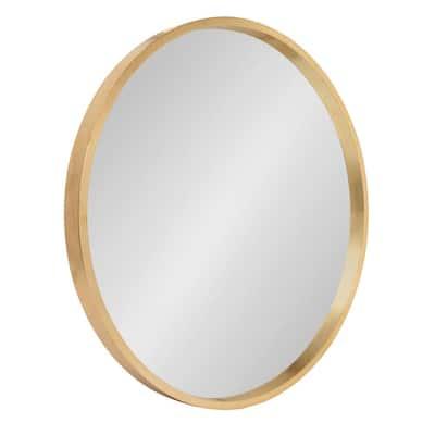 Medium Round Gold Art Deco Mirror (21.65 in. H x 21.65 in. W)