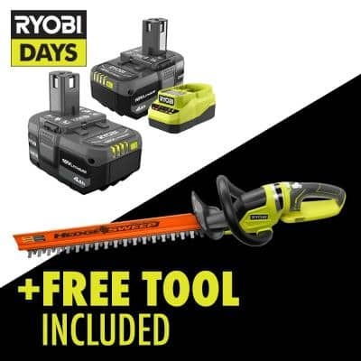 ONE+ 18V Lithium-Ion 4.0 Ah Compact Battery (2-Pack) and Charger Kit with Free Cordless 22 in. Battery Hedge Trimmer