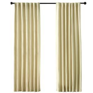 Cream Solid Back Tab Room Darkening Curtain - 54 in. W x 108 in. L