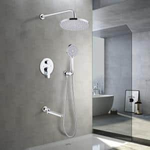 2-Handle 2-Spray Handheld Tub and Shower Faucet with 8 in. Shower Head Combo in Chrome (Valve Included)