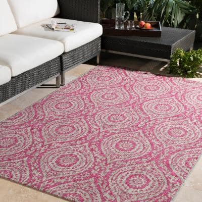 Rectangle Artistic Weavers Pink Outdoor Rugs Rugs The Home Depot